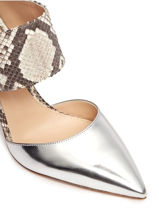 Detail View - Click To Enlarge - Gianvito Rossi - Mirror leather python mules