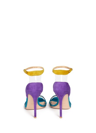 Back View - Click To Enlarge - Gianvito Rossi - PVC trim colourblock suede sandals