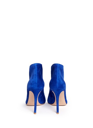 Back View - Click To Enlarge - Gianvito Rossi - V-throat suede peep toe booties