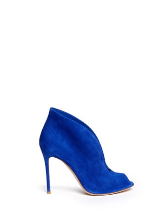 Main View - Click To Enlarge - Gianvito Rossi - V-throat suede peep toe booties
