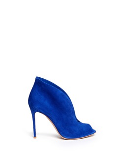 GIANVITO ROSSI V-throat suede peep toe booties