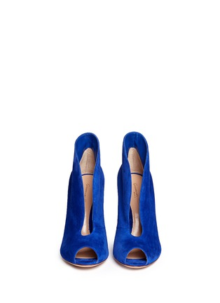 Figure View - Click To Enlarge - Gianvito Rossi - V-throat suede peep toe booties