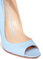 Peep toe leather ankle strap pumps