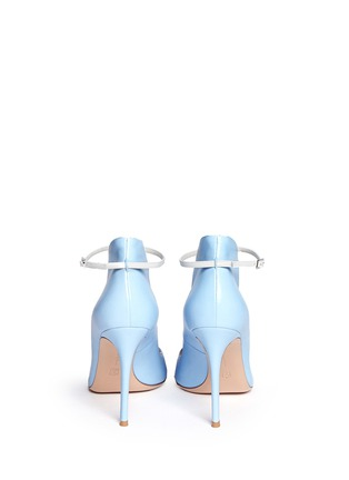 Back View - Click To Enlarge - Gianvito Rossi - Peep toe leather ankle strap pumps