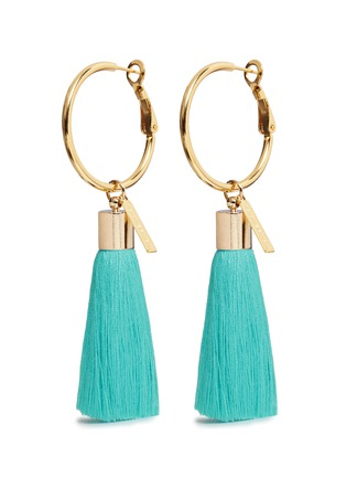 Main View - Click To Enlarge - Mignonne Gavigan - 'Lily' detachable tassel gold plated hoop earrings