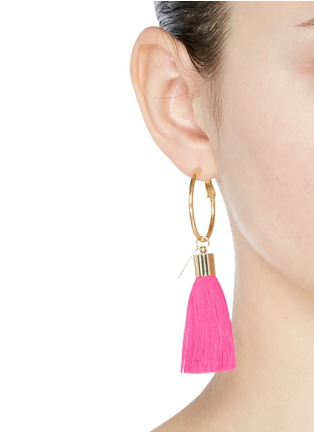 Figure View - Click To Enlarge - Mignonne Gavigan New York - 'Lily' detachable tassel gold plated hoop earrings