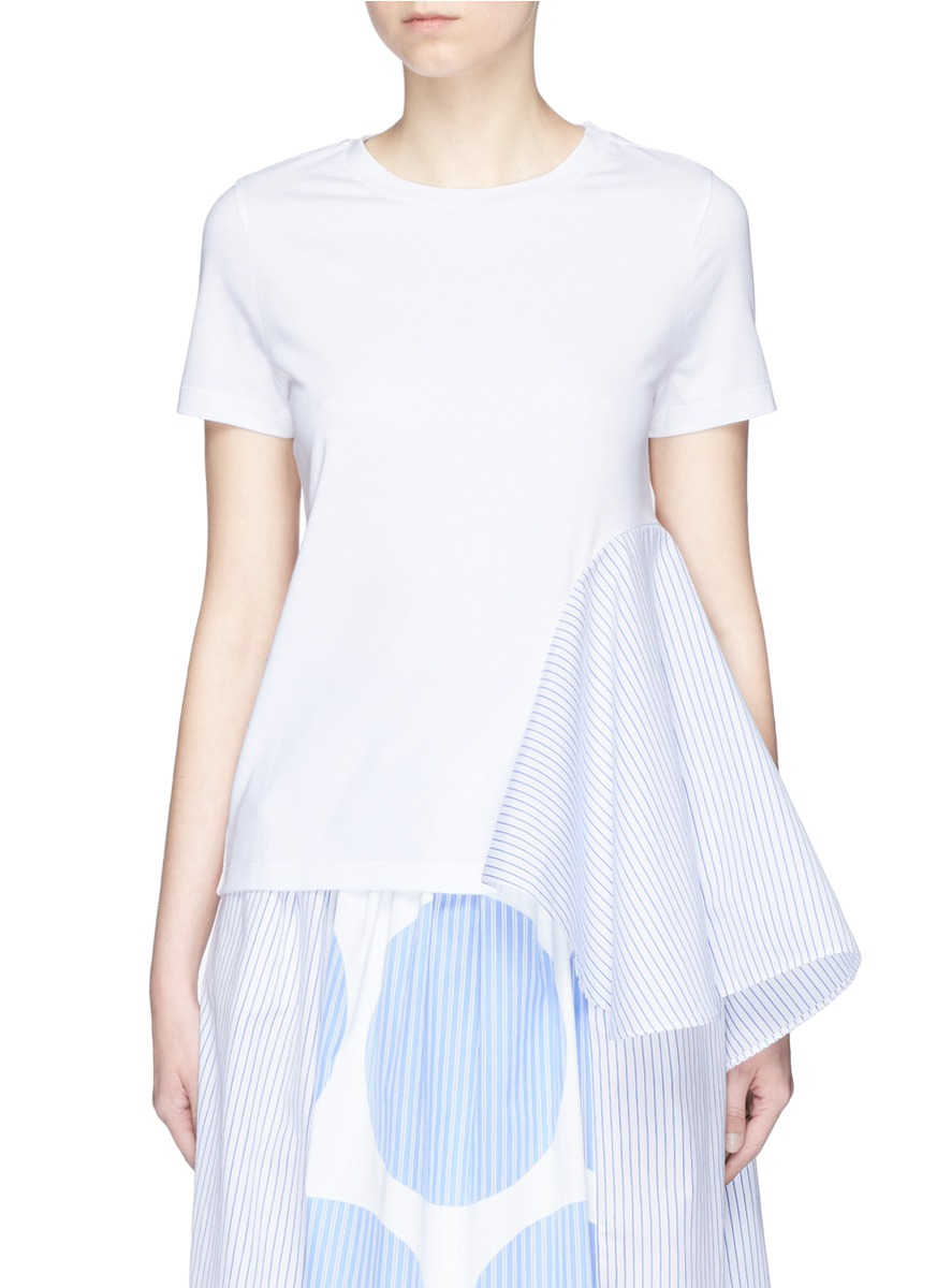 Stripe asymmetric draped side T-shirt by Stella McCartney