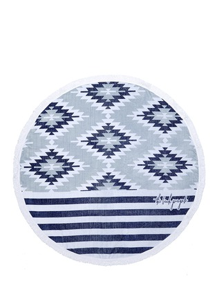 Detail View - Click To Enlarge - The Beach People - 'The Montauk' fringed mix pattern roundie towel
