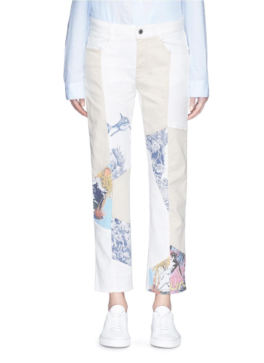 Surf print patchwork colourblock denim pants by Stella McCartney