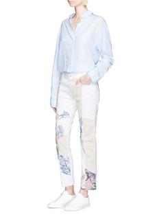 Stella McCartneySurf print patchwork colourblock denim pants