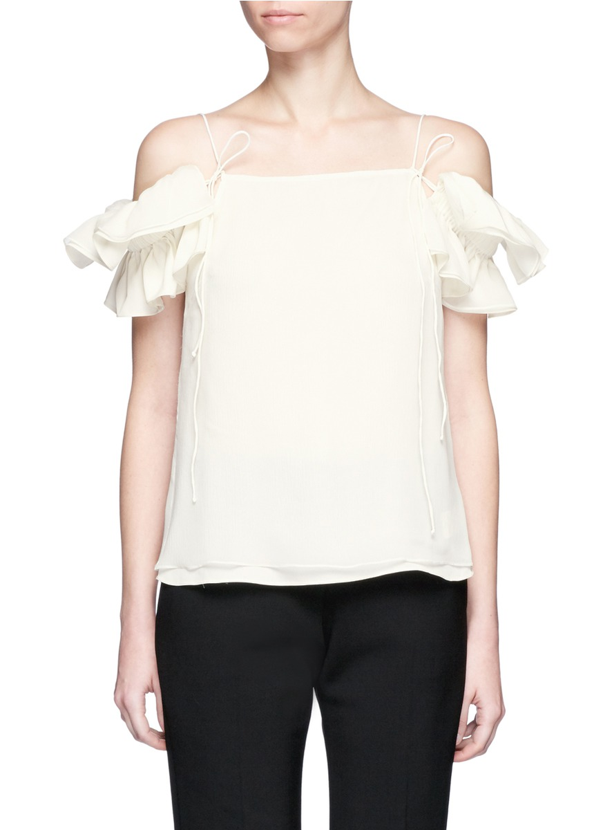 Detachable ruffle sleeve off-shoulder silk camisole by JH.ZANE