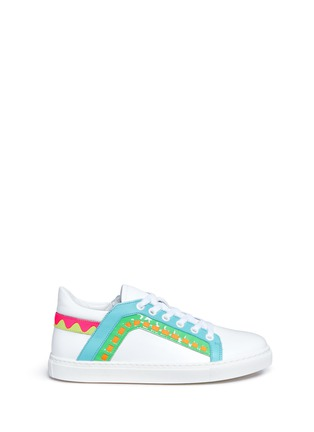 Main View - Click To Enlarge - Sophia Webster - 'Riko' stitched trim leather sneakers