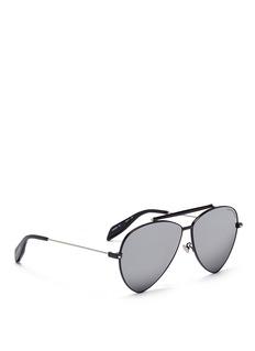 Alexander McQueenPiercing stud acetate aviator sunglasses