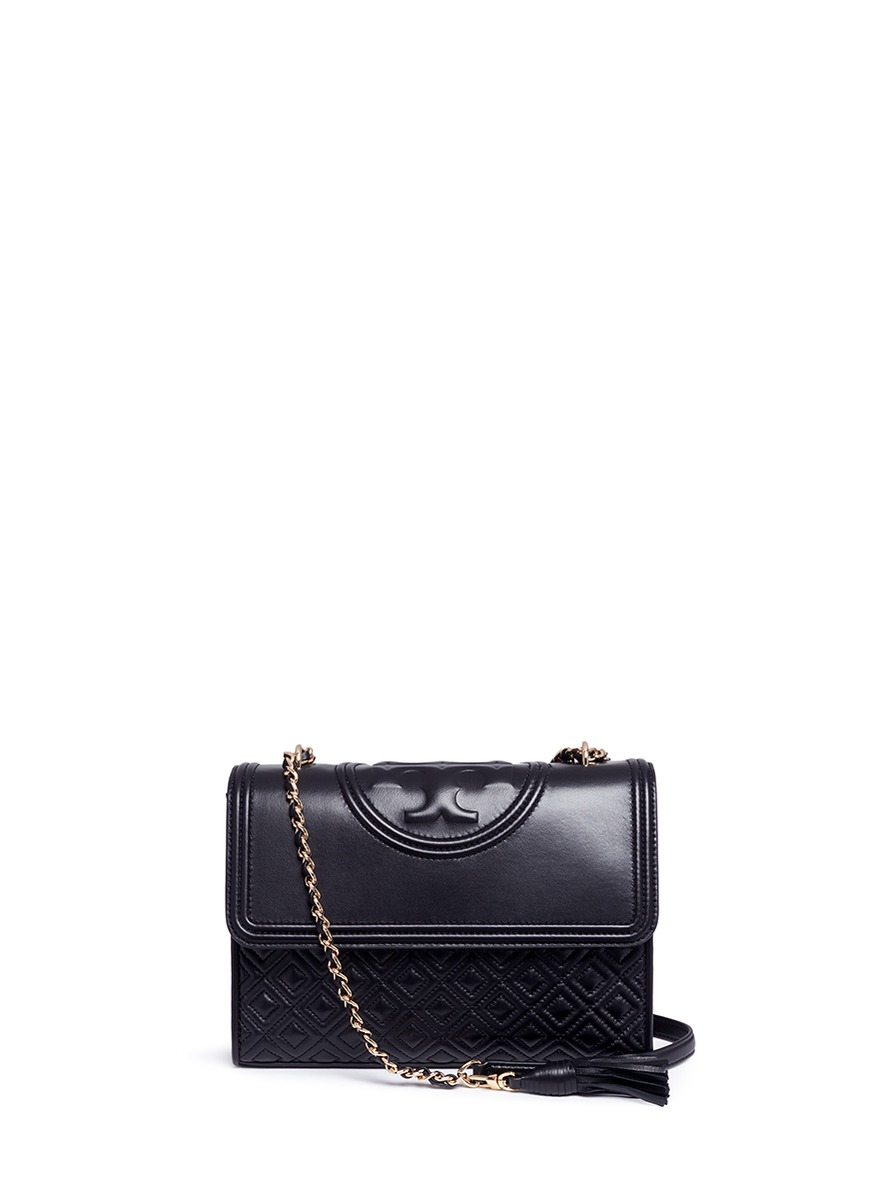 Fleming convertible quilted leather shoulder bag by Tory Burch