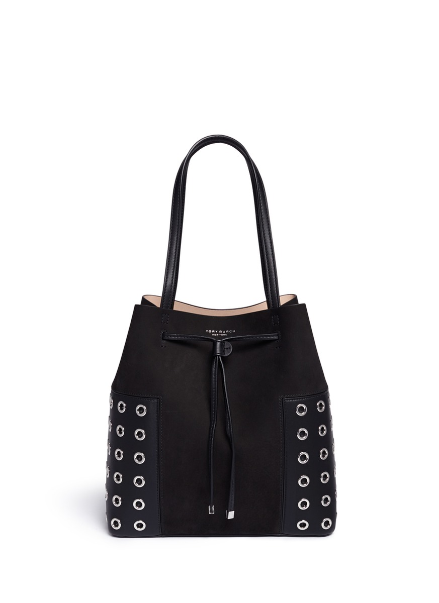 Block-T Grommet drawstring tote by Tory Burch