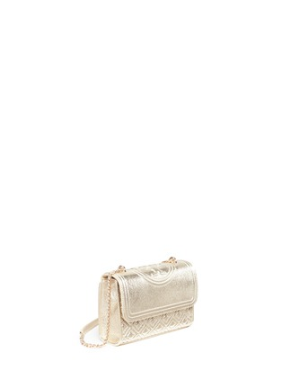 Detail View - Click To Enlarge - Tory Burch - 'Fleming' small convertible metallic leather shoulder bag