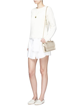 Figure View - Click To Enlarge - Tory Burch - 'Fleming' small convertible metallic leather shoulder bag