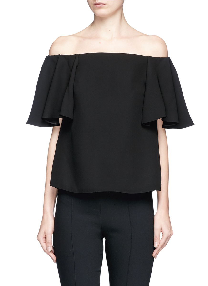 Ruffle off-shoulder crepe top by Valentino
