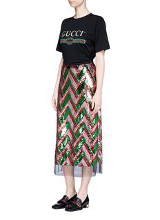 Gucci Mesh hem chevron sequin skirt