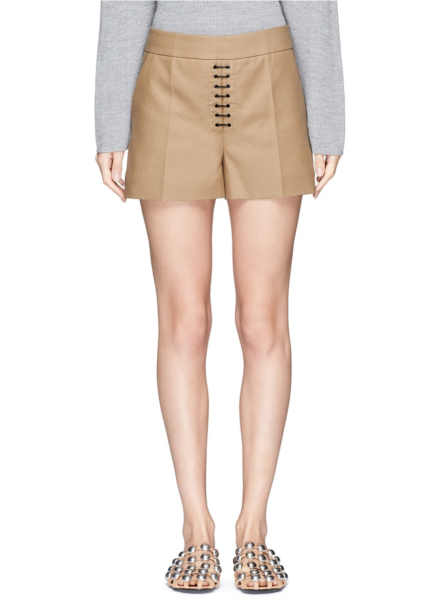 Lace-up front cotton twill shorts by Alexander Wang