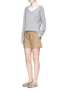 Alexander Wang  Lace-up front cotton twill shorts