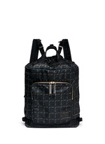 x PORTER check print techno fabric drawstring backpack