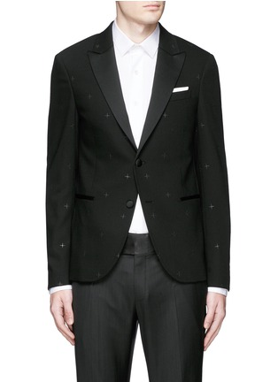 Main View - Click To Enlarge - Neil Barrett - Rubberised star print tuxedo blazer