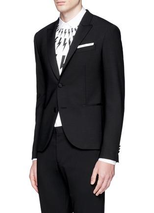 Front View - Click To Enlarge - Neil Barrett - Satin peak lapel skinny fit tuxedo blazer