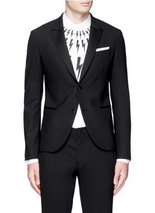 Neil Barrett-Satin peak lapel skinny fit tuxedo blazer