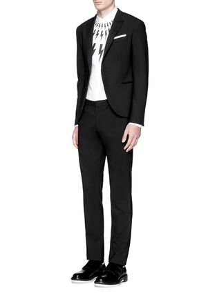 Figure View - Click To Enlarge - Neil Barrett - Satin peak lapel skinny fit tuxedo blazer