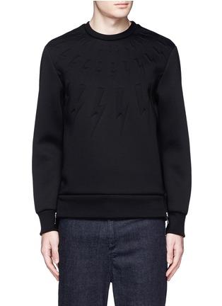 Neil Barrett-Embossed thunderbolt scuba jersey sweatshirt