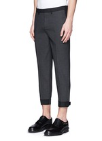 Stretch wool blend skinny fit pants
