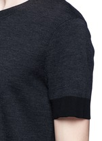 Contrast cuff double face wool sweater