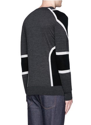 Back View - Click To Enlarge - Neil Barrett - Biker ribbing Merino wool sweater