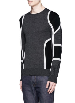Front View - Click To Enlarge - Neil Barrett - Biker ribbing Merino wool sweater