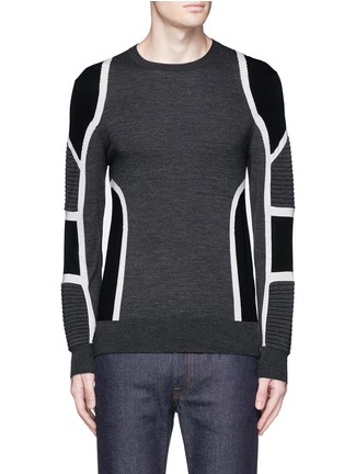 Main View - Click To Enlarge - Neil Barrett - Biker ribbing Merino wool sweater