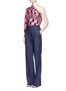 EMILIO PUCCI Pleat front chambray wide leg pants