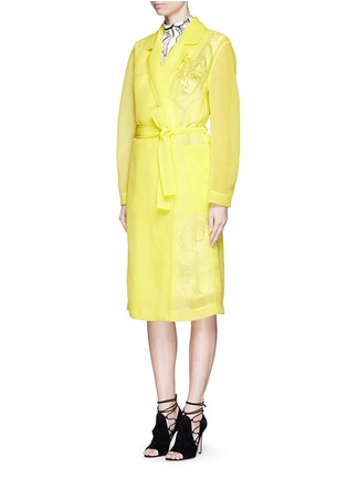 Front View - Click To Enlarge - Emilio Pucci - Logo embroidery double tulle overcoat