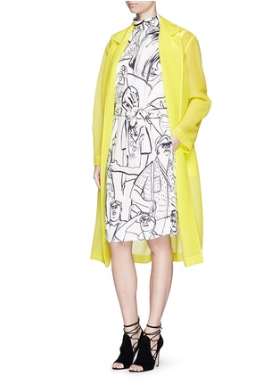 Figure View - Click To Enlarge - Emilio Pucci - Logo embroidery double tulle overcoat