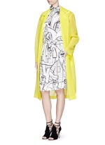 Logo embroidery double tulle overcoat