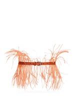 Feather lizard effect leather belt