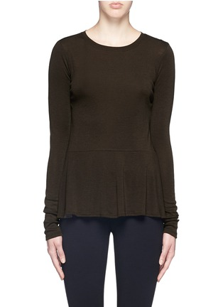 Main View - Click To Enlarge - Theory - 'Malydie K' Merino wool knit peplum top