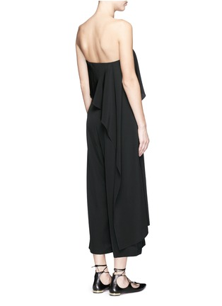 Back View - Click To Enlarge - Tibi - Cascade drape overlay silk strapless jumpsuit