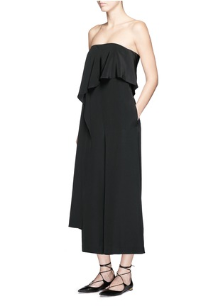 Tibi-Cascade drape overlay silk strapless jumpsuit