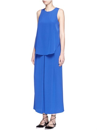 Figure View - Click To Enlarge - Tibi - Inverted pleat cropped silk culottes