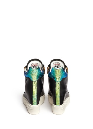 Back View - Click To Enlarge - Ash - 'Atomic' holographic collar leather wedge sneakers