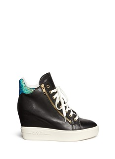 ASH'Atomic' hologram collar leather wedge sneakers
