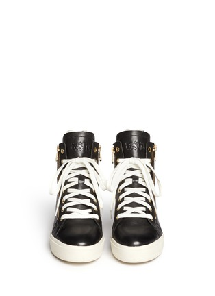 Figure View - Click To Enlarge - Ash - 'Atomic' holographic collar leather wedge sneakers