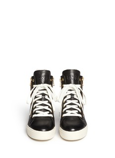 Ash 'Atomic' holographic collar leather wedge sneakers