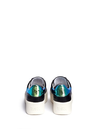 Back View - Click To Enlarge - Ash - 'Cult' holographic trim leather flatform sneakers